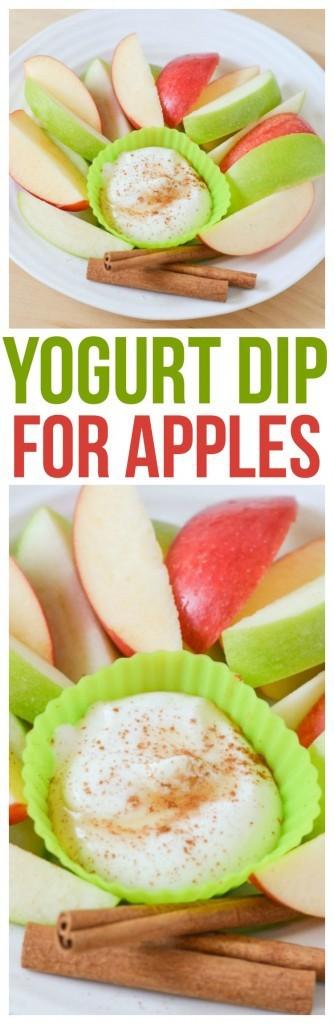 Yogurt Dip for Apples! Simple yogurt dip for fruit, easy healthy snack. Serve this refreshing treat with fall favorites like apples & pears.