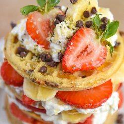 Strawberry Banana Waffle Breakfast