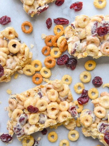 Creamy Peanut Butter flavored throughout these White Chocolate Cranberry Cereal Bars make them an irresistible snack! They're great for on the go and even good for gift giving.