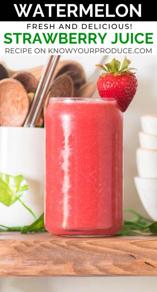 strawberry watermelon juice in a glass pinterest image with text