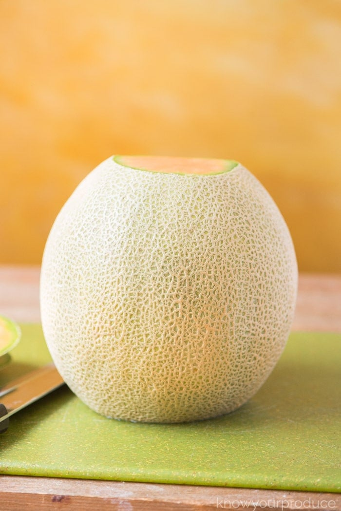 how to cut a cantaloupe - stand cantaloupe
