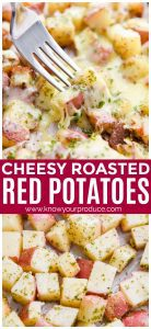 This Roasted Red Potatoes recipe is a cheesy potato side dish that packs flavor in each bite, can be enjoyed with or without mozzarella cheese.