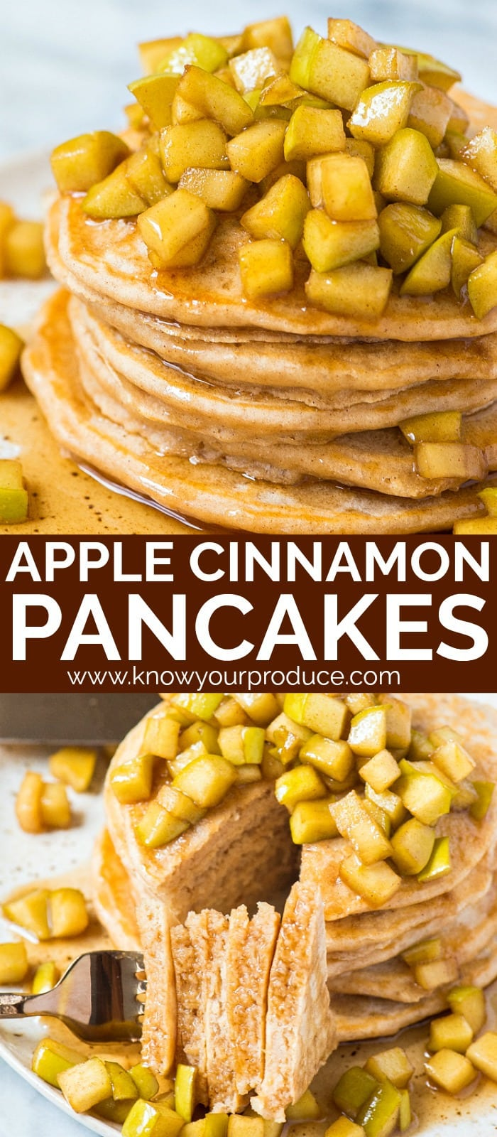 Apple Cinnamon Pancakes with apples with cinnamon in warm maple syrup