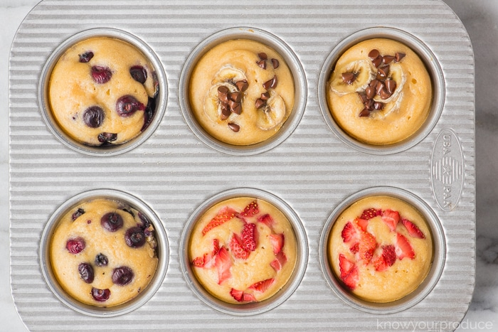 cooked pancake muffins in a muffin tin
