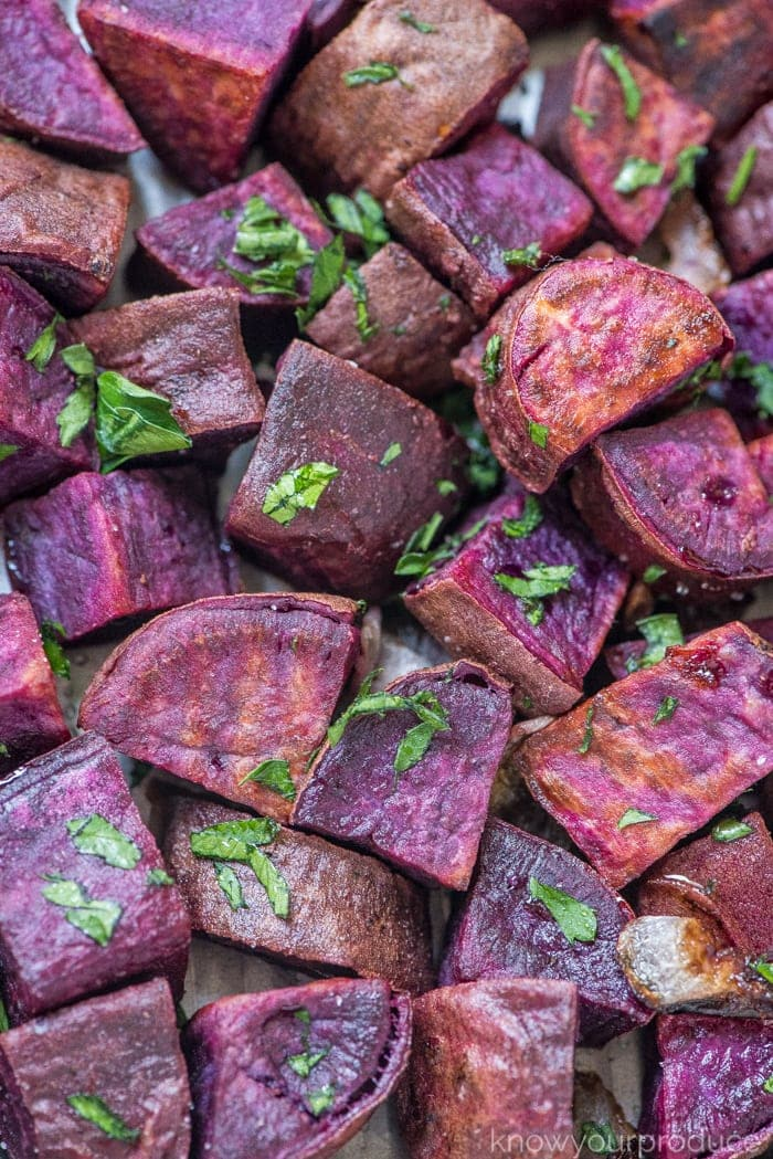 how to roast vegetables roasted purple sweet potatoes with parsley on a sheet pan