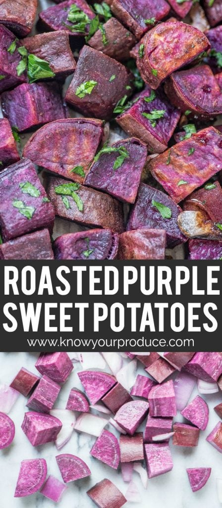 roasted purple sweet potatoes pinterest pin
