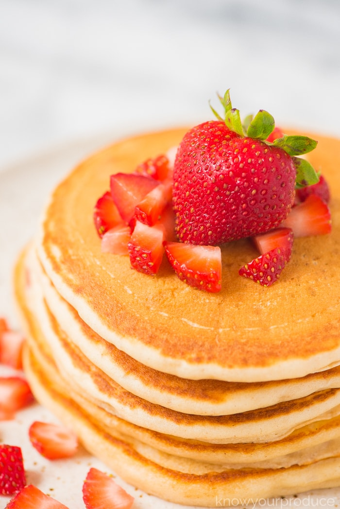 strawberry pancakes on a plate