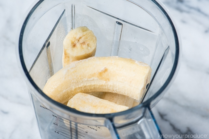 frozen bananas in the vitamix for vegan banana ice cream