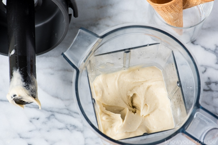 vegan banana ice cream made in the vitamix with tamper tool