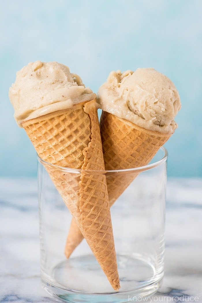vegan banana ice cream recipe in ice cream cones in a cup