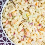 easy macaroni salad in a low bowl