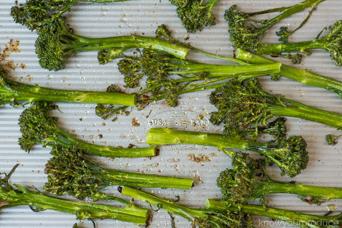 roasted broccolini on a baking sheet