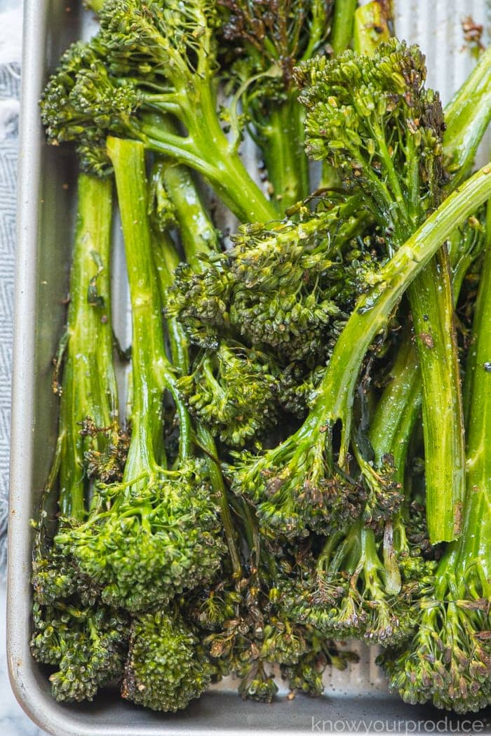 roasted broccolini on a sheet pan