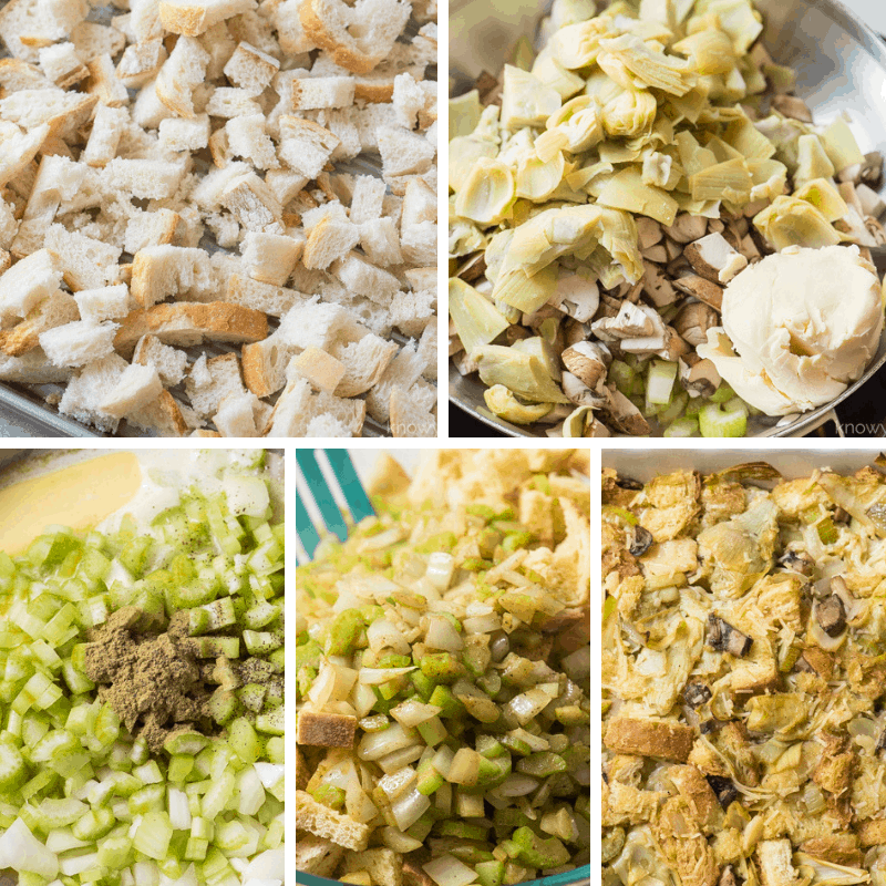 step by step photos making vegan stuffing - fresh bread cubes, pan with mushrooms artichokes onions celery and butter, combining ingredients, and finished stuffing in casserole dish