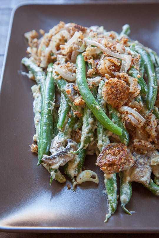 vegan green bean casserole on a plate