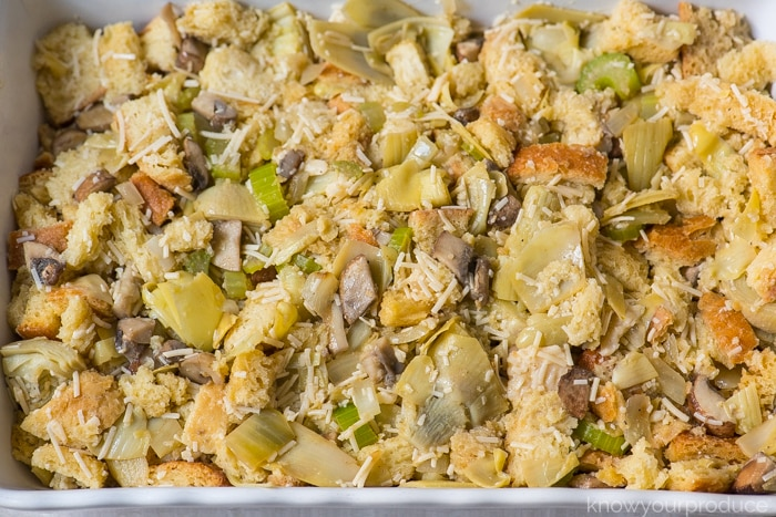 uncooked vegan stuffing in a baking dish