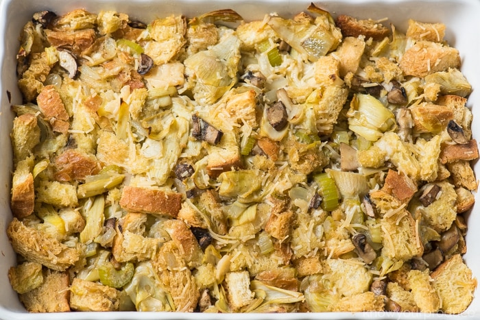 plant based vegan stuffing in a baking dish