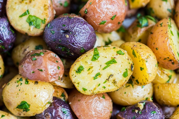 oven roasted potatoes on a sheet pan