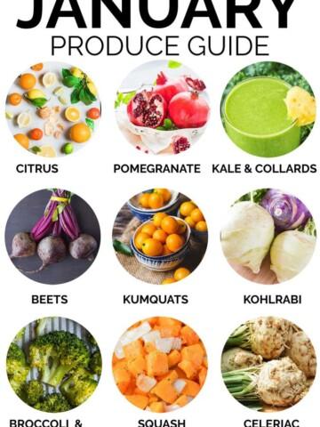January Produce Guide - what's In season and seasonal recipes, citrus, pomegranate, kale and collards, beets, kumquats, kohlrabi, broccoli and cauliflower, squash, celeriac