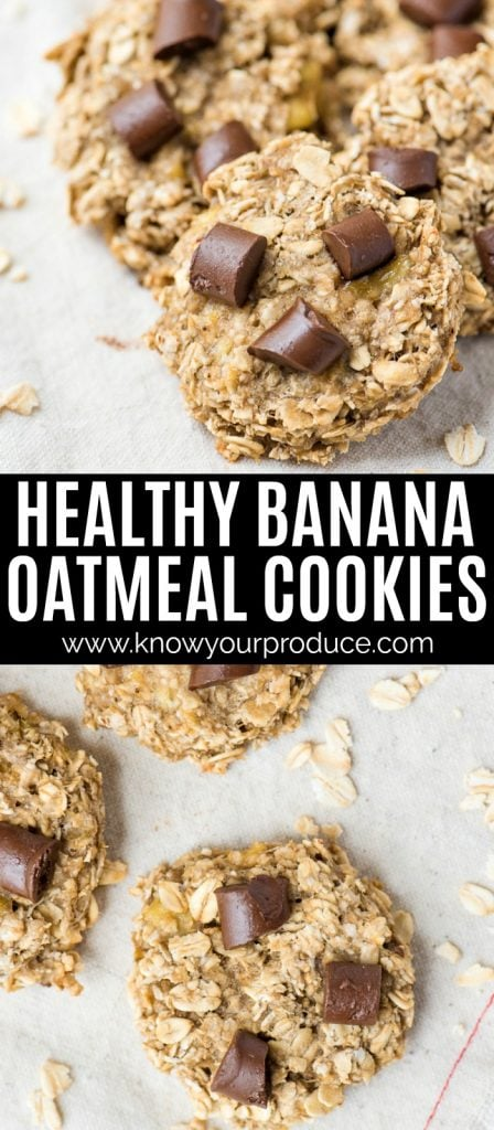 healthy banana oatmeal chocolate chip cookies