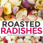Roasted Radishes with Garlic and Parsley - low carb vegan side dish