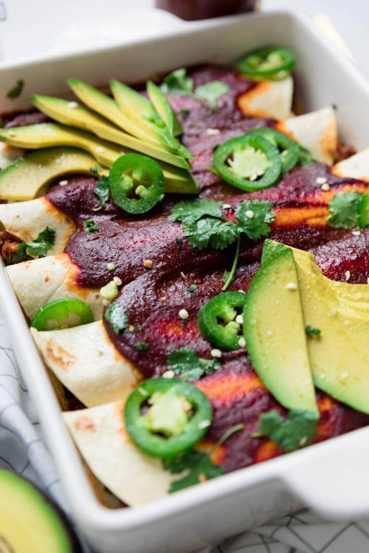 Vegan Jackfruit and Black Bean Enchiladas