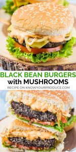 vegan black bean burgers with mushrooms - plant based veggie burgers that are perfect for the BBQ