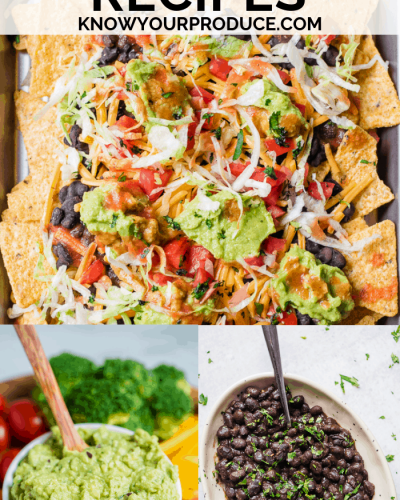 Cinco de Mayo recipes collage, vegan nachos, vegan guacamole, vegan Mexican black beans