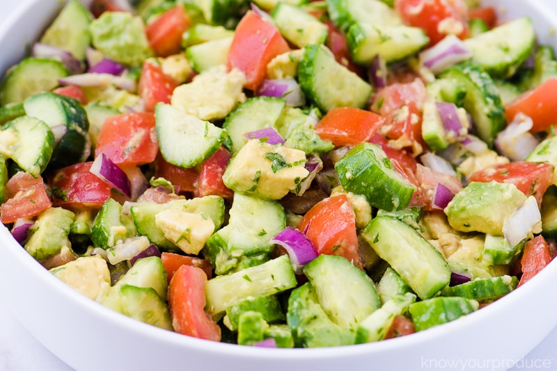 cucumber tomato salad in a bowl