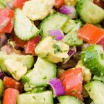 Cucumber Tomato Avocado Salad - low carb side dish oil free salad vegan and gluten free