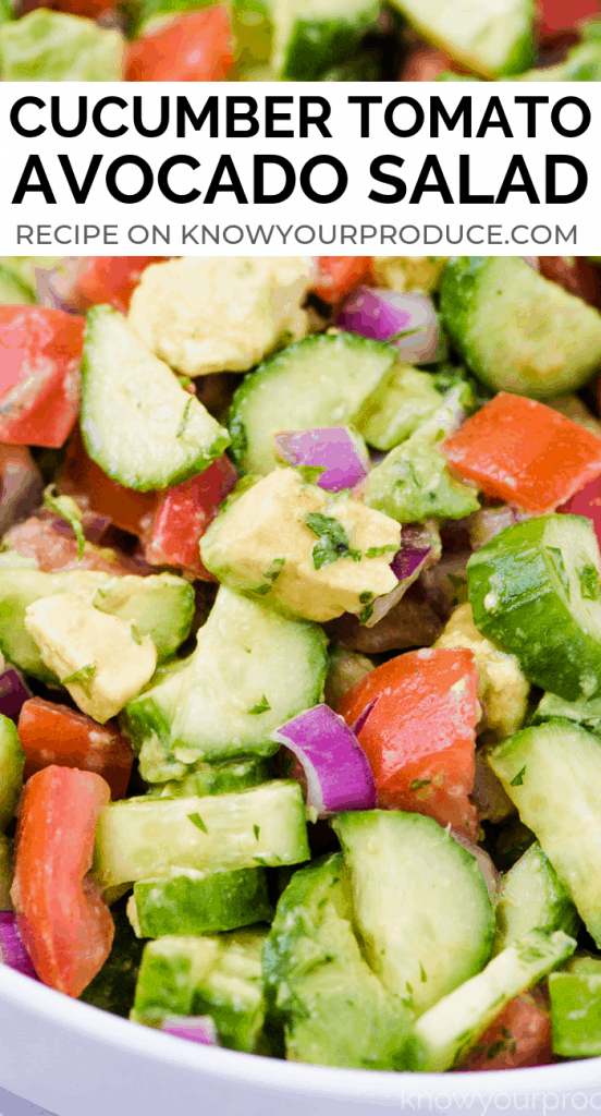 Cucumber Tomato Avocado Salad - low carb side dish oil free salad vegan and gluten free