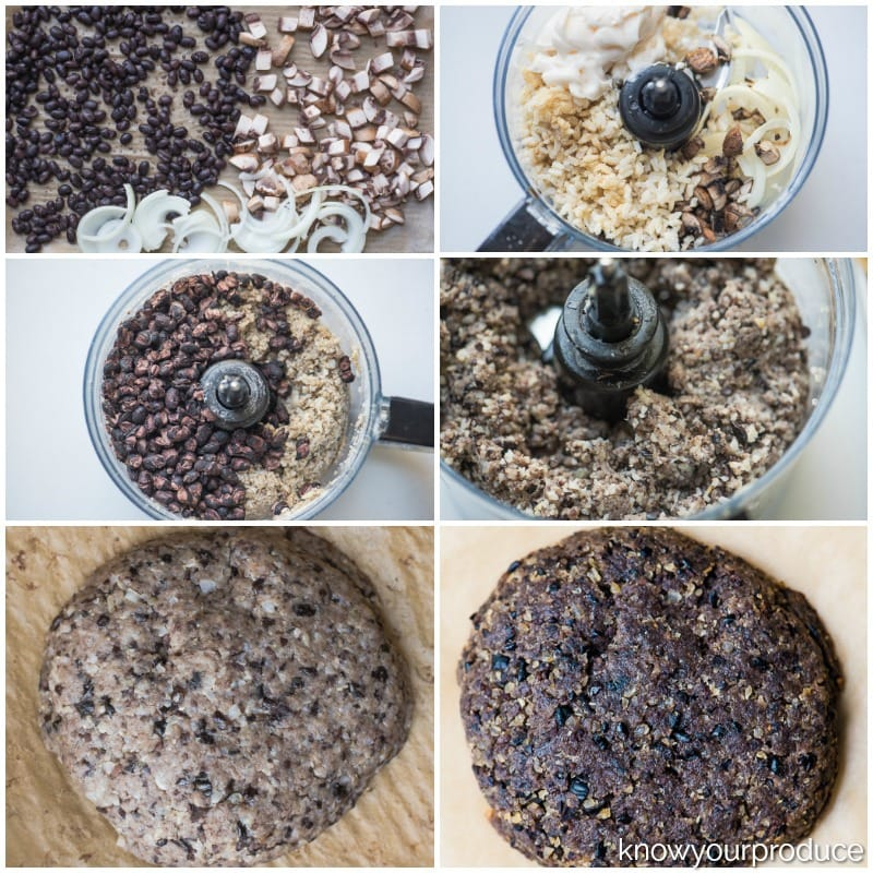 step by step process making vegan black bean burgers. roasted mushrooms black beans onions, processing the ingredients in the food processor and formed veggie burgers