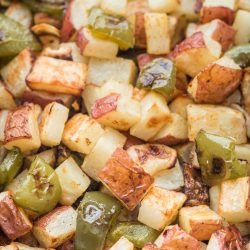 Roasted Breakfast Potatoes with Peppers and Onions