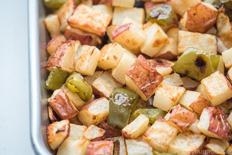 roasted veggies on a sheet pan