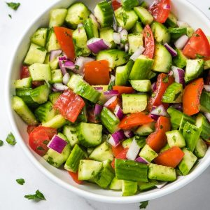 shirazi salad in a bowl