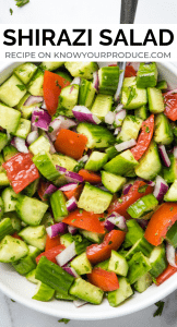 shirazi salad - healthy persian cucumber tomato salad side dish
