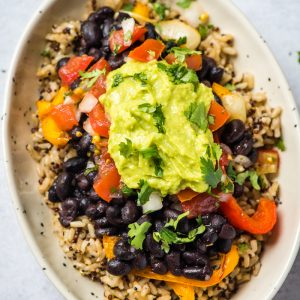 vegan burrito bowl with quinoa brown rice