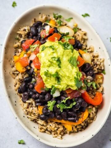 vegan burrito bowl with quinoa brown rice