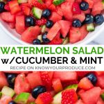 Refreshing Watermelon Salad is perfect for summer entertaining! You can make this side dish salad recipe sweet or savory. It's naturally vegan, oil-free, and gluten-free.