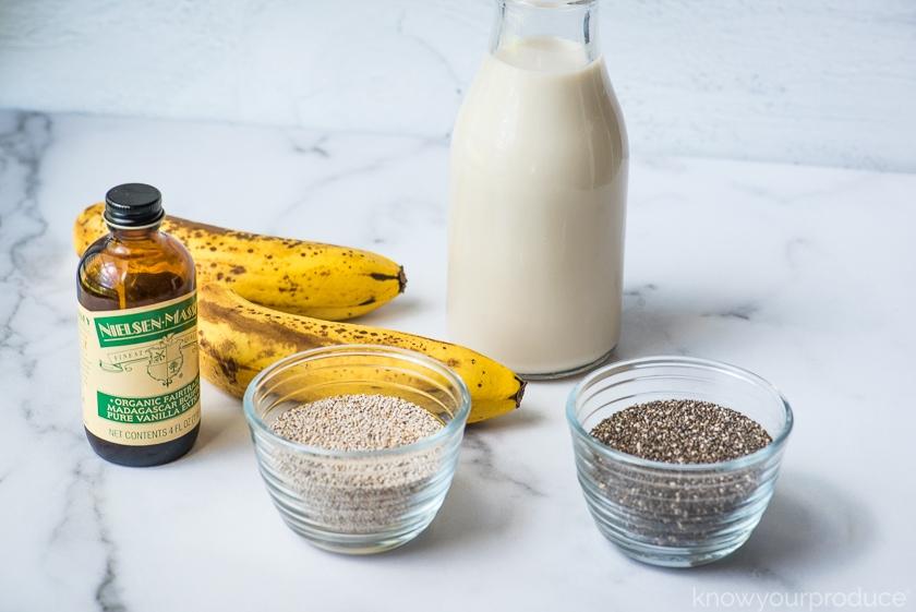 ripe bananas chia seeds vanilla and nut milk
