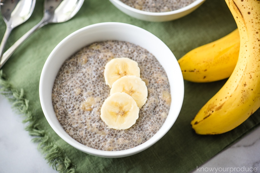 chia seed pudding in a bowl with a banana slices