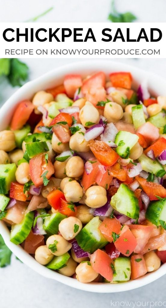 chickpea salad - refreshing summer salad side dish recipe - vegan, vegetarian, oil free, gluten free, plant based.
