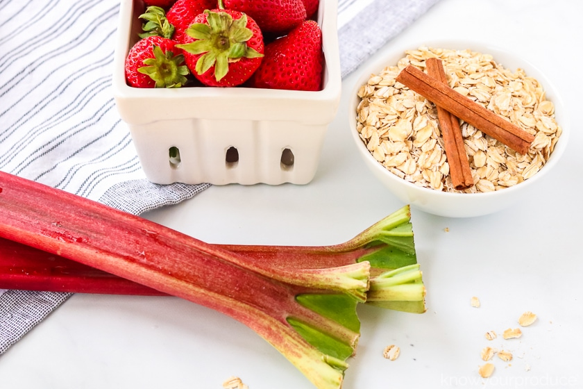 fresh rhubarb strawberries oats and cinnamon sticks