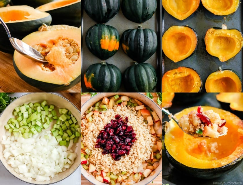 stuffed acorn squash step by step photos scooping out seeds, roasting, sautéing onions and celery, cooking filling in a pot, placing filling into squash.