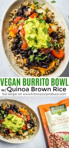 vegan burrito bowl or vegan burritos with quinoa brown rice pico de gallo guacamole and roasted peppers and onions