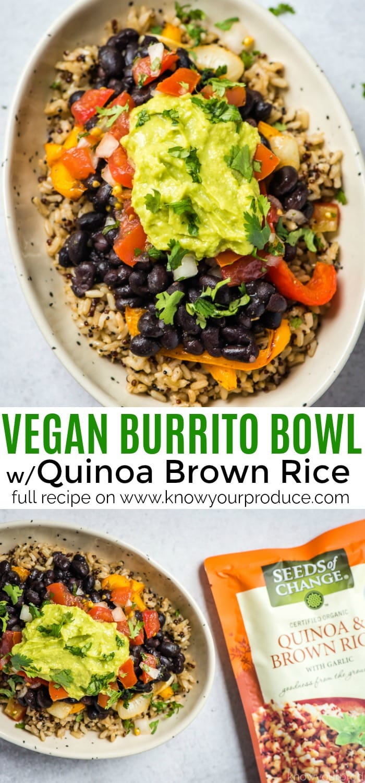 vegan burrito bowl or vegan burritos with quinoa brown rice pico de gallo guacamole and roasted peppers and onions