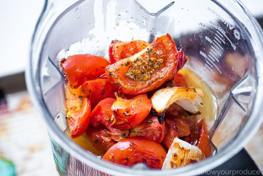 roasted tomatoes and onions with broth in a vitamix