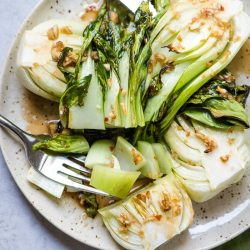 Roasted Baby Boy Choy with Ginger and Garlic Sauce