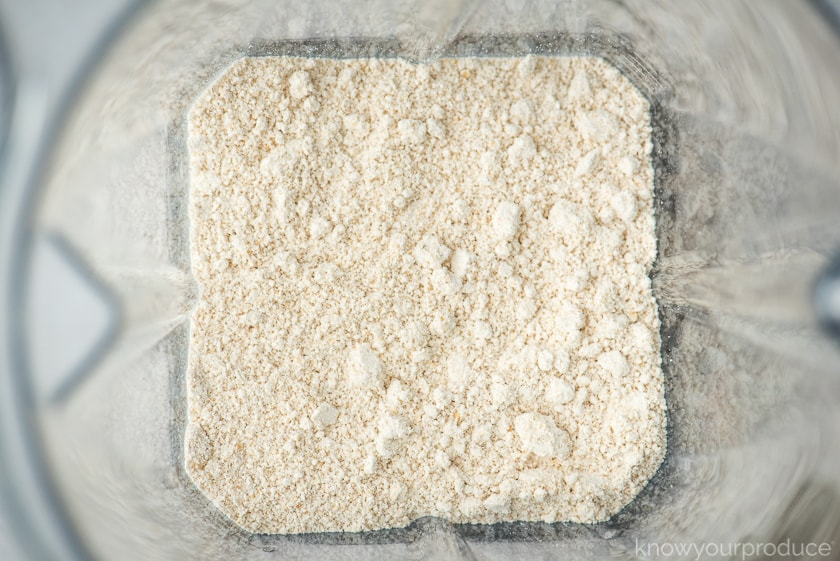 ground oat flour in the vitamix blender jar