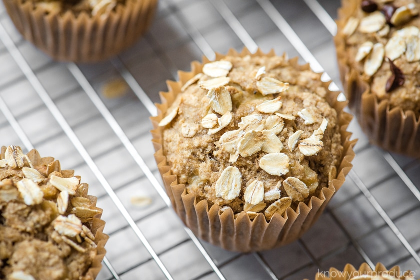 healthy banana muffins on a cooling rack